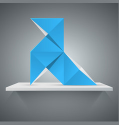 paharita blue bird - origami icon vector image