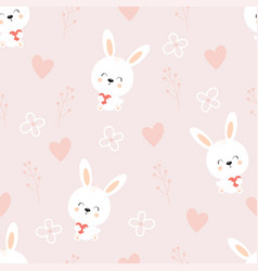 pattern with cute hares vector image