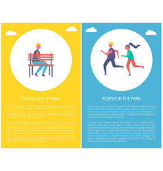 People in park poster boy on bench runners jogging vector