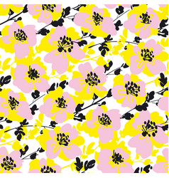 Pink and yellow abstract blossom flowers pattern vector