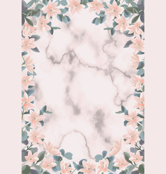 Pink marble background with eucalyptus and flowers vector
