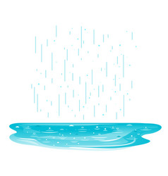 Puddle in rain isolated vector