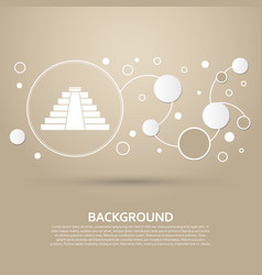 pyramid icon on a brown background with elegant vector image