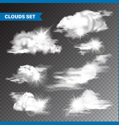 Realistic clouds with sun collection isolated vector