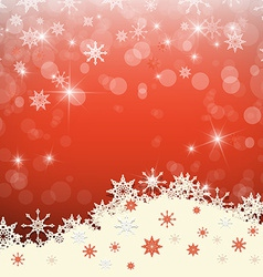 Red Abstract Blurred Bokeh Winter Background with vector image