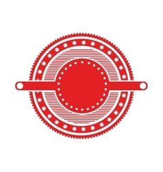 Red circular art deco emblem with stars vector