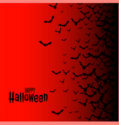 red happy halloween background with flying bats vector image