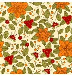 Red or orange flowers and berries seamless pattern vector image vector image