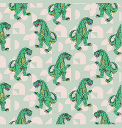 Reptile monster boy seamless pattern vector