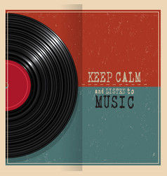 retro grunge poster with vinyl disk record vector image