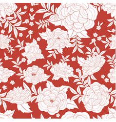 Seamless floral pattern based on embroidered vector