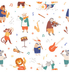 Seamless pattern with animal musicians cute kids vector