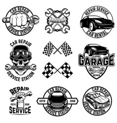 set car service station emblems and design vector image