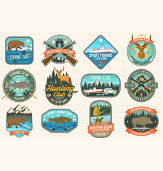 Set fishing and hunting club patches vector