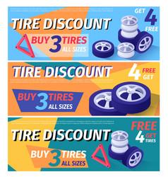 set header banner offering car tire discount vector image