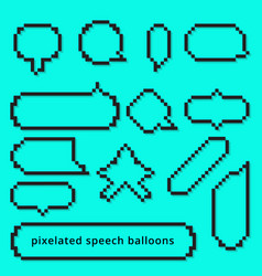 Set pixel art style gameing speech bubble seamless vector