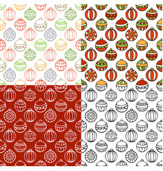 Set seamless pattern christmas baubles vector