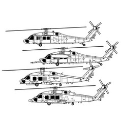 sikorsky uh-60 black hawk vector image