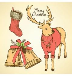 Sketch fancy reindeer in vintage style vector