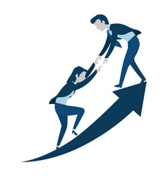 Successful business couple with arrow up vector