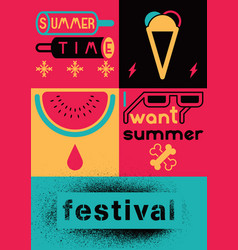 Summer festival colorful vivid poster design vector