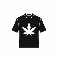 T-shirt with print of cannabis icon simple style vector image vector image