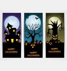 Three halloween banners with castle and pumpkin an vector