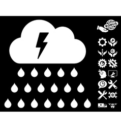 Thunderstorm Rain Cloud Icon with Tools vector
