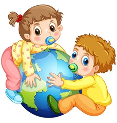 Toddlers boy and girl hugging the earth vector