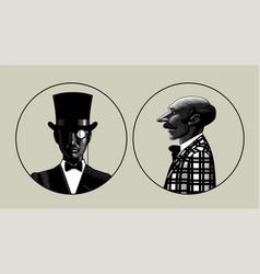 two portraits men in retro suit vector image