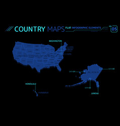 United states america hawaii and alaska vector