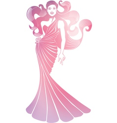Vertical girl with turban vector