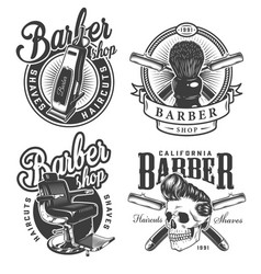 Vintage monochrome barbershop labels vector