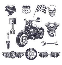 vintage motorcycle elements collection vector image