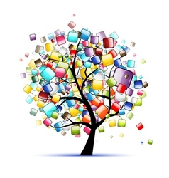 Web buttons glossy on tree for your design vector