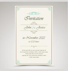 wedding invitation in retro vintage style vector image