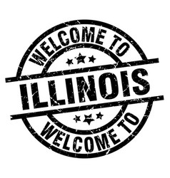Welcome to illinois black stamp vector
