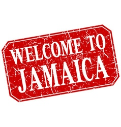 Welcome to Jamaica red square grunge stamp vector