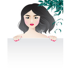 woman behind white frame with leaves vector image