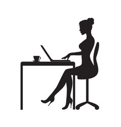 woman is sitting at the computer vector image