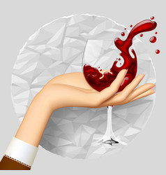 womans hand holding a wineglass with splashed vector image