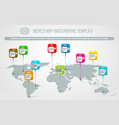 world map pins infographic vector image