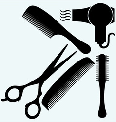 Scissors comb for hair and dryer vector image vector image