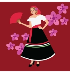 traditional spanish spain costume iypsy girl woman vector image