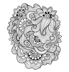 Zen-tangle floral pattern Mehndi style vector image vector image