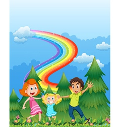A happy family near the pine trees with a rainbow vector image vector image