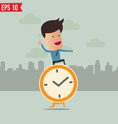Business man stand on the clock - - EPS10 vector image