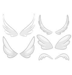 hand drawn angel fairy or bird wings set vector image