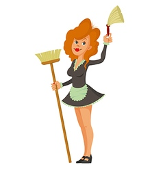 maid and cleaning tools vector image
