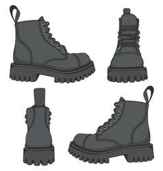 Set of drawings with black boots isolated objects vector image vector image